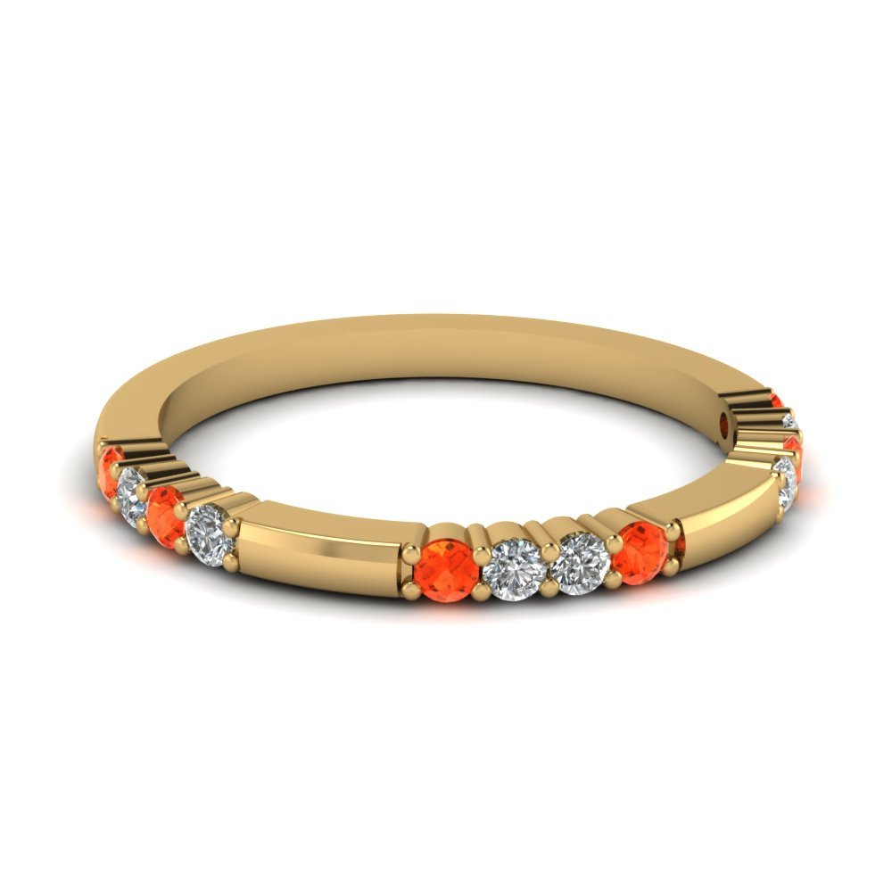 Delicate Diamond And Orange Topaz Wedding Band In 14K Yellow Gold
