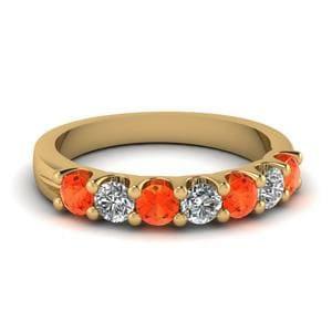 Orange Topaz Anniversary Band