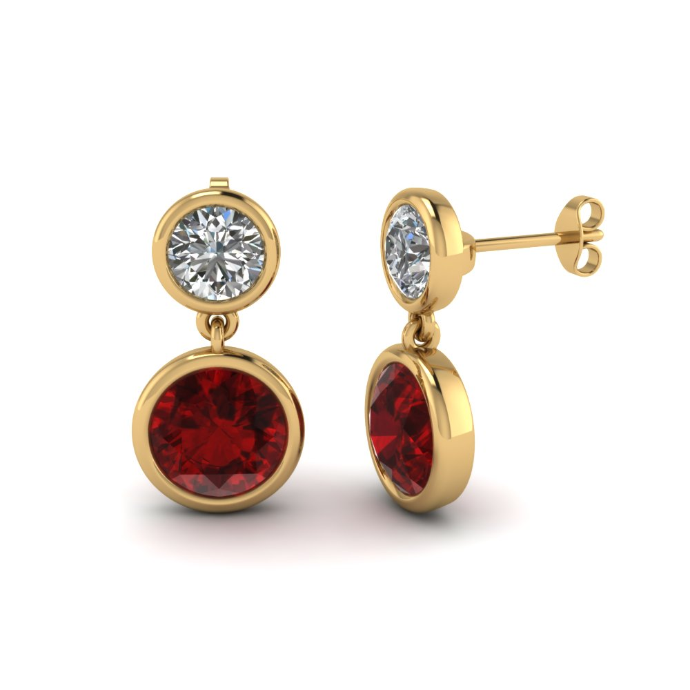 Bezel Ruby Diamond Drop Earring
