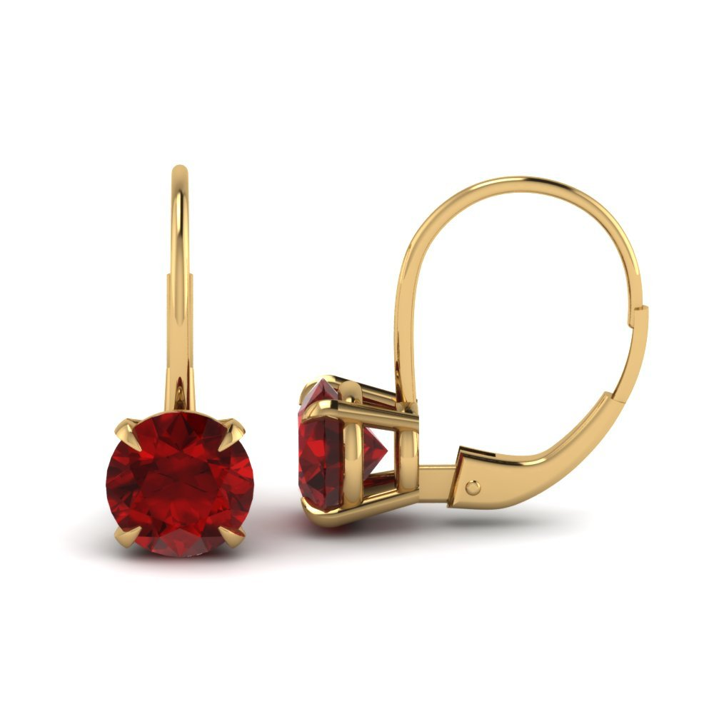 Ruby Leverback Hoop Earring
