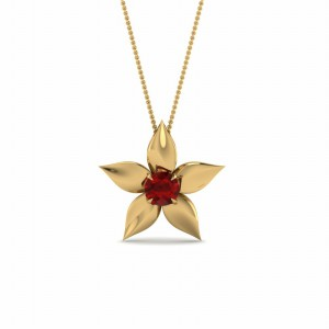 Daisy Ruby Solitaire Pendant In 18K Yellow Gold