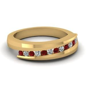 Swirl Channel Gold Diamond Band