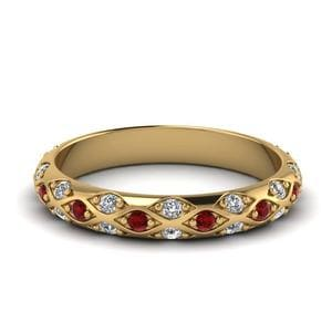 Yellow Gold Ruby Wedding Band