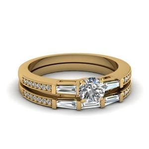 Delicate Baguette With Round Diamond Wedding Set In 14K Yellow Gold