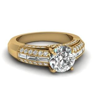 Yellow Gold Round White Diamond Engagement Wedding Ring In Channel Pave Set