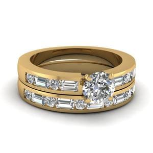 Channel Set Baguette Round Diamond Wedding Ring Set In 14K Yellow Gold