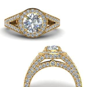 Pave Round Halo Diamond Ring
