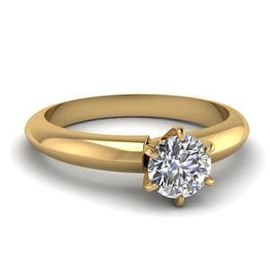 Solitaire Dome Diamond Engagement Ring In 14K Yellow Gold
