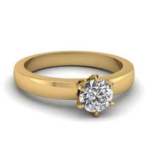 6 Prong Solitaire Round Diamond Engagement Ring In 18K Yellow Gold