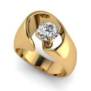 14K Yellow Gold Round Solitaire Ring