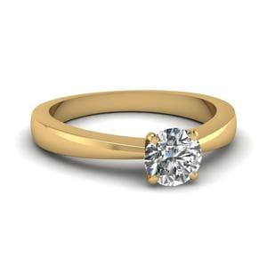Tapered Traditional Solitaire Round Cut Diamond Engagement Ring In 14K Yellow Gold