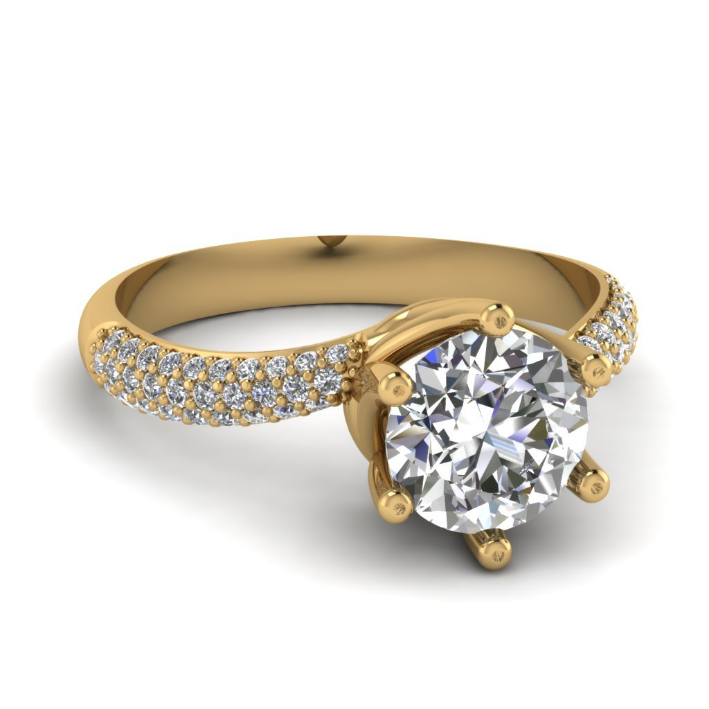 Gold Round Diamond Pave Ring
