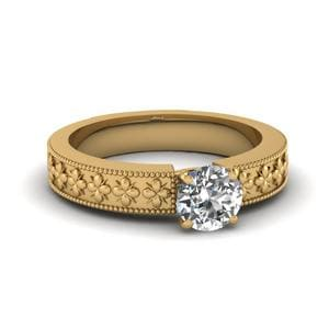 Floral Engraved Round Cut Solitaire Engagement Ring In 14K Yellow Gold