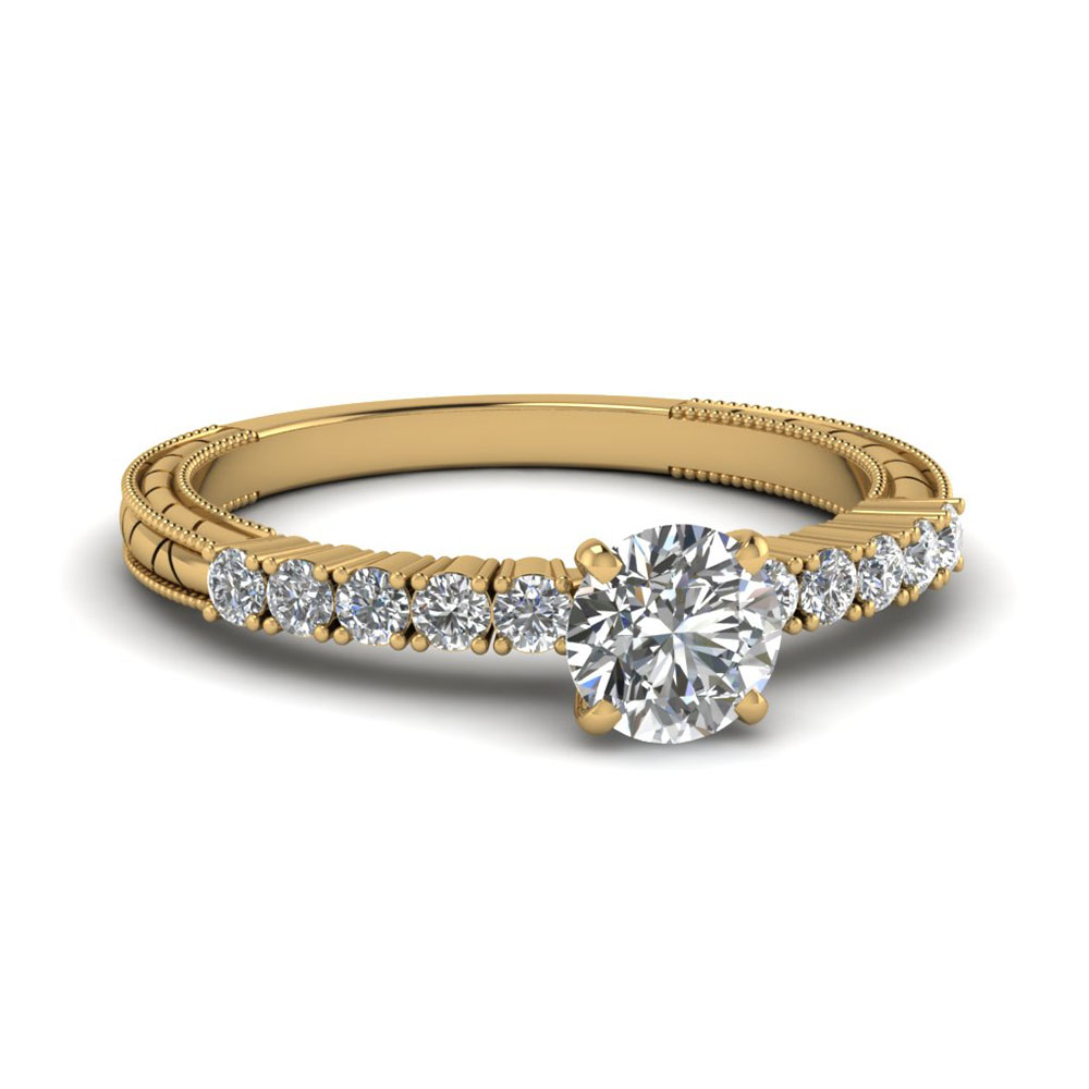 Petite Vintage Round Diamond Engagement Ring In 14K Yellow Gold