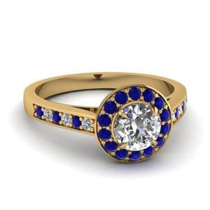 Cathedral Pave Halo Sapphire Ring