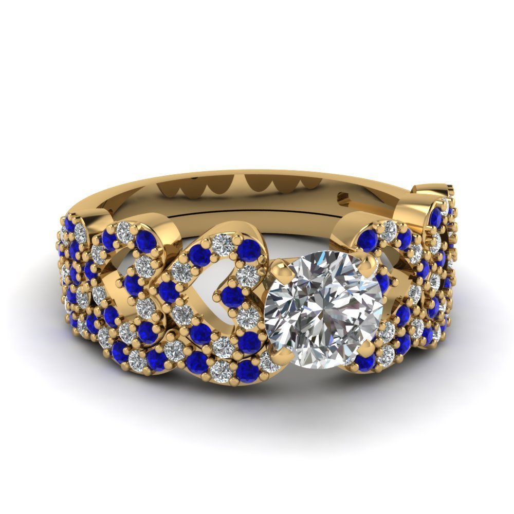 Round Cut Heart Design Linked Diamond Wedding Set With Sapphire In 14K Yellow Gold