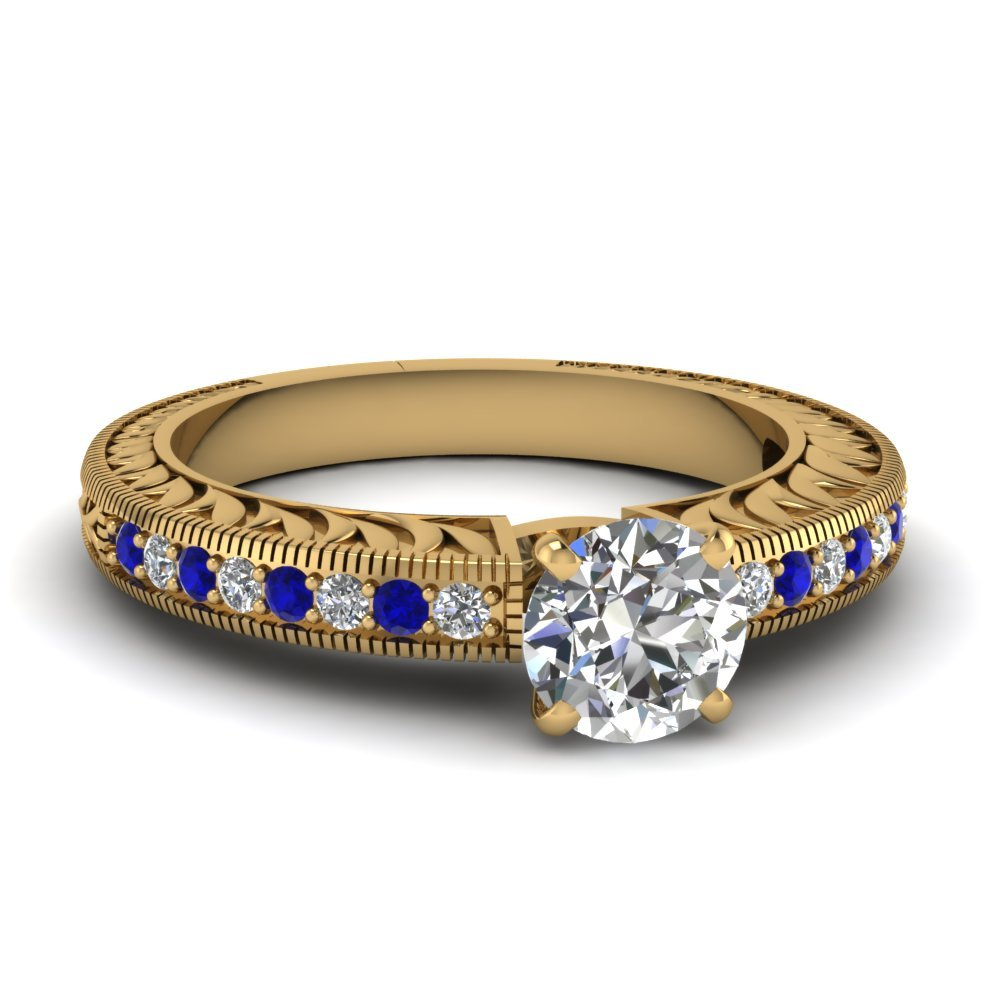 Hand Engraved Round Cut Vintage Engagement Ring With Sapphire In 14K Yellow Gold
