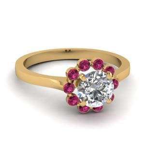 Pink Sapphire Halo Flower Ring