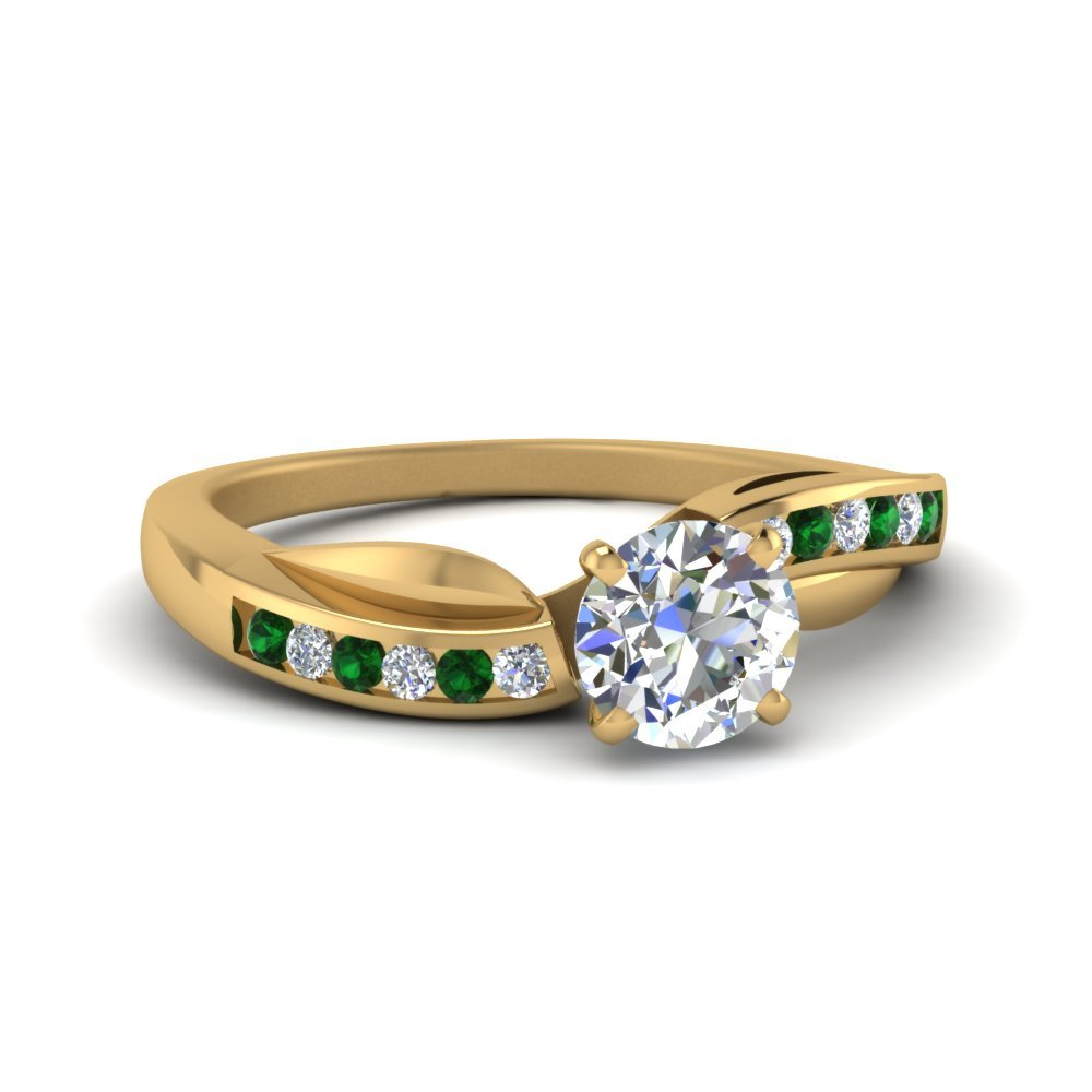 Petal Channel Set Round Diamond Engagement Ring With Emerald In 14K Yellow Gold