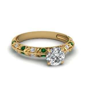Pave Knife Edge Emerald Ring