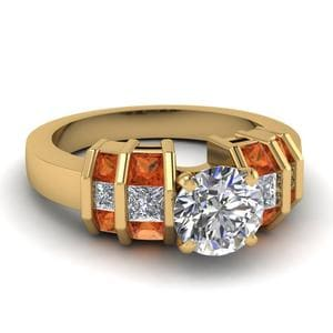 Round Diamond Orange Sapphire Ring