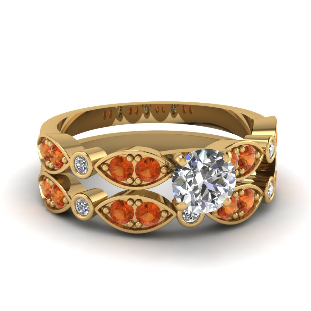 Art Deco Round Diamond Wedding Ring Set With Orange Sapphire In 14K Yellow Gold
