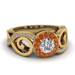 Twisted Orange Sapphire Gold Ring