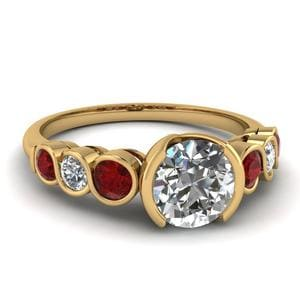 Diamond Bezel Set 7 Stone Engagement Ring With Ruby In 14K Yellow Gold
