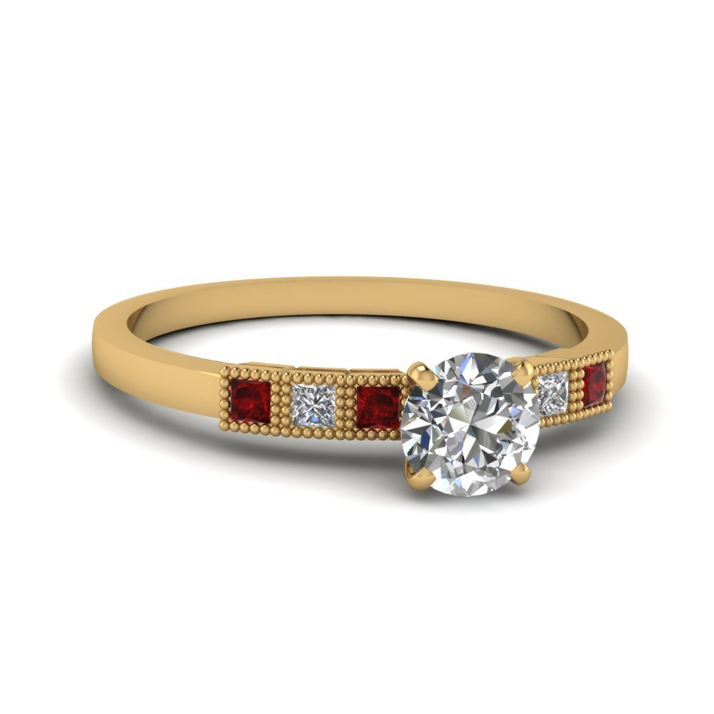 Milgrain Petite Round Diamond Engagement Ring With Ruby In 14K Yellow Gold