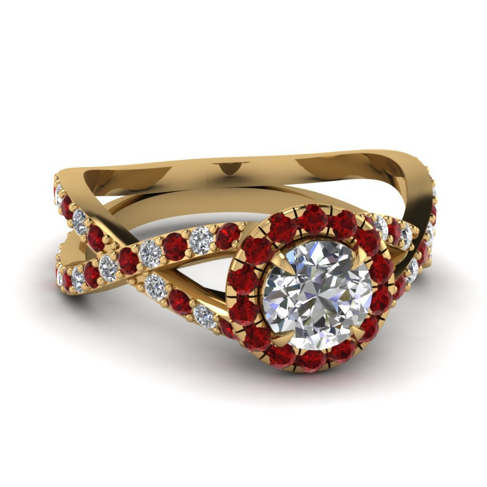 18k Gold Ruby Halo Ring