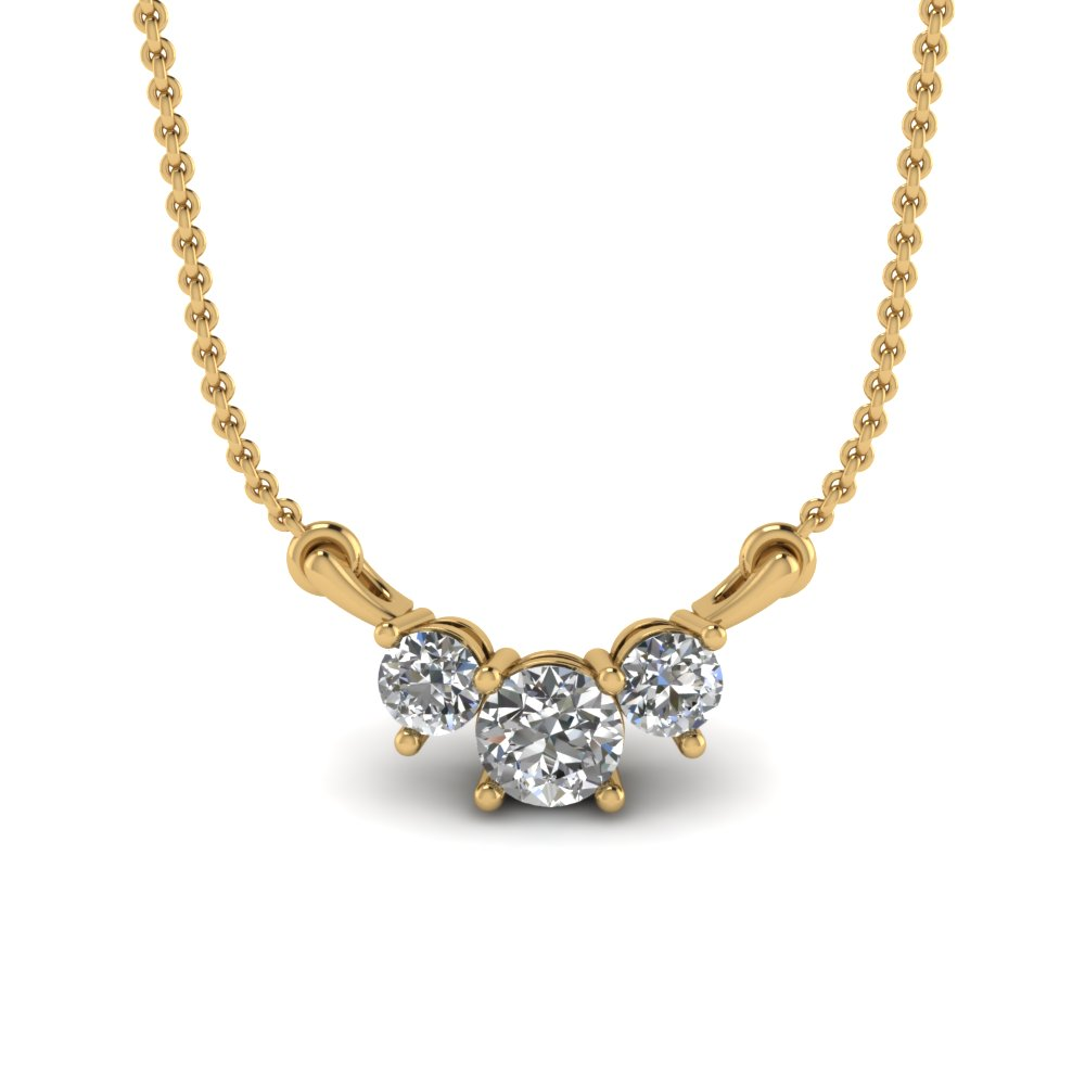 3 Diamond Pendant Necklace