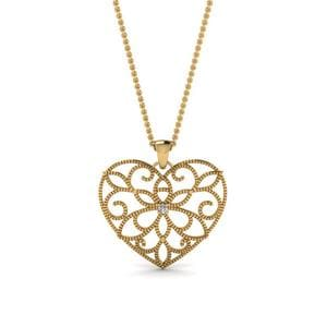 Filigree Heart Diamond Pendant In 18K Yellow Gold