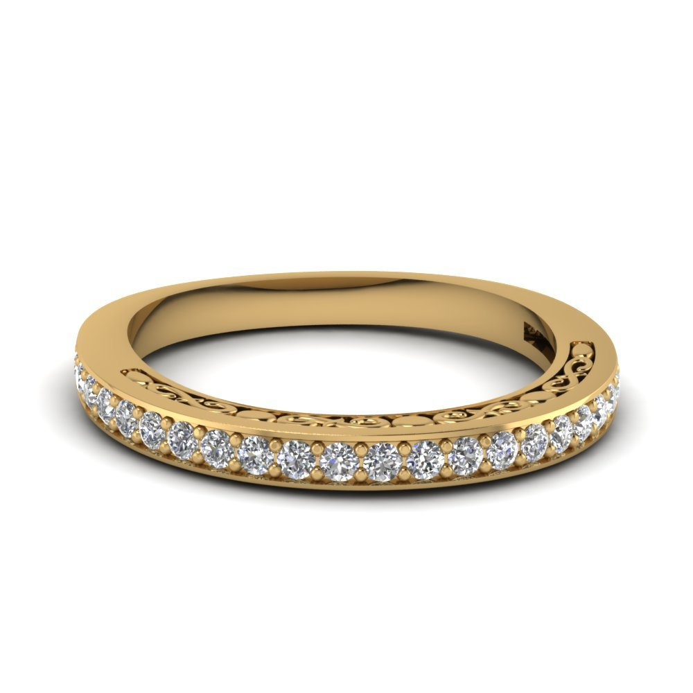 Delicate Filigree Diamond Wedding Band In 14K Yellow Gold