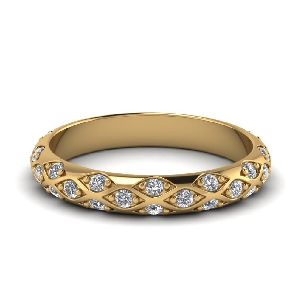 Pave Cross Diamond Wedding Band In 18K Yellow Gold