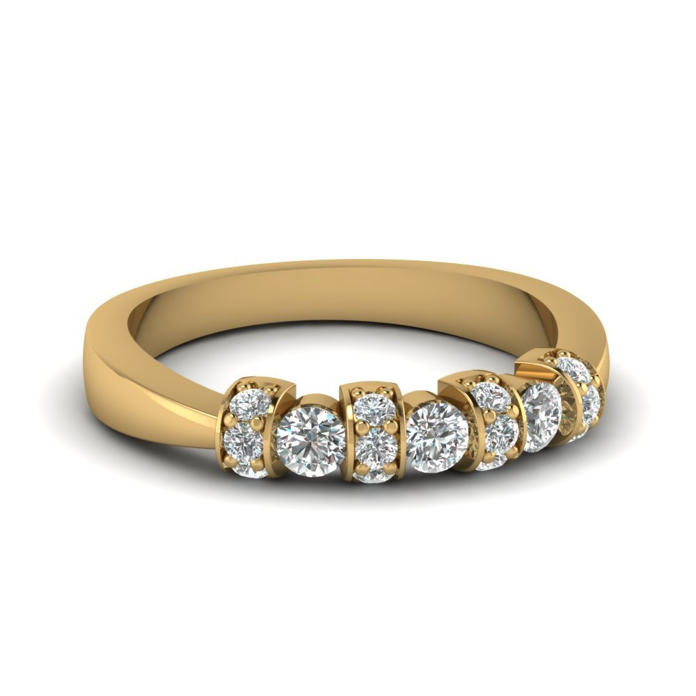 Tapered Diamond Pave Band In 14K Yellow Gold