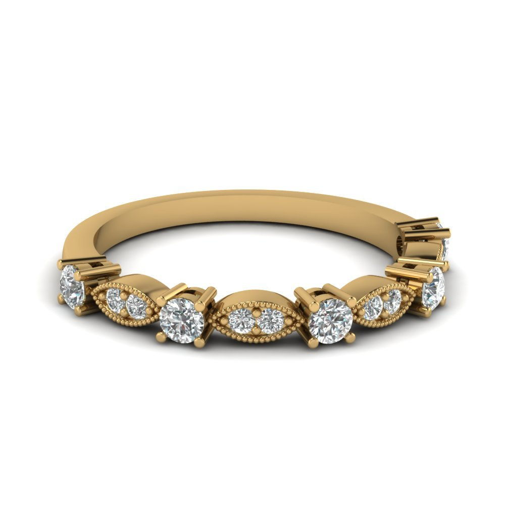 Art Deco Round Diamond Wedding Band In 14K Yellow Gold