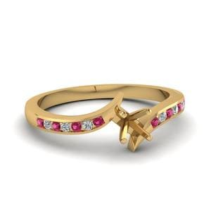 Twist Channel Cushion Diamond Engagement Ring With Pink Sapphire In 14K Yellow Gold