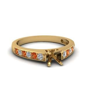 Delicate Orange Sapphire Ring Setting