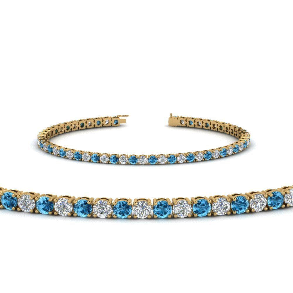 Blue Topaz Tennis Diamond Bracelet