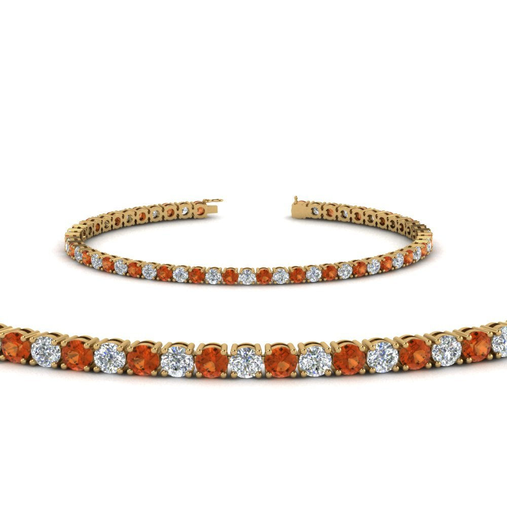 Orange Sapphire Yellow Gold Bracelet