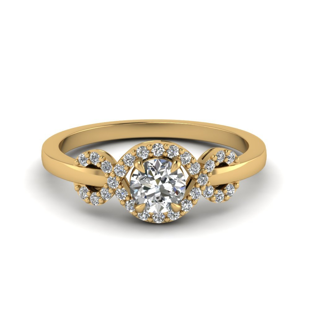 Yellow Gold Wave Halo Diamond Ring