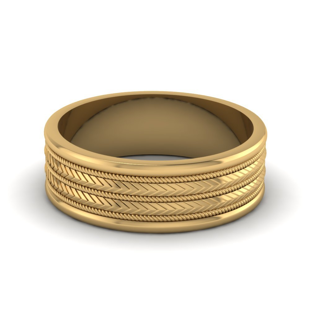 Mens Wedding Band in 18k Gold
