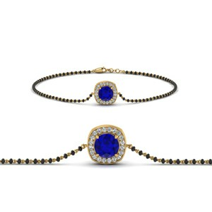 Sapphire Bracelet Mangalsutra With Black Beads