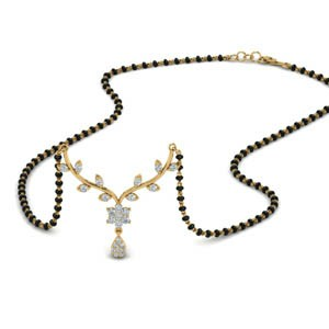 Small Leaf Diamond Mangalsutra Necklace