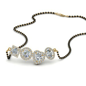Diamond Halo Mangalsutra Necklace