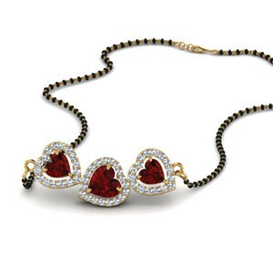 Ruby Heart 3 Stone Mangalsutra Necklace