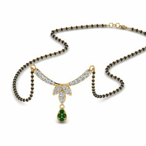 Floral Drop Emerald Mangalsutra Necklace
