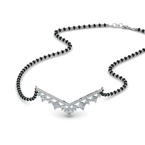 V Shaped Bar Diamond Mangalsutra