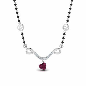 Mangalsutra Sun Sign Pink Sapphire With Beads