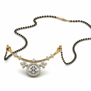 Diamond Flower Curved Mangalsutra
